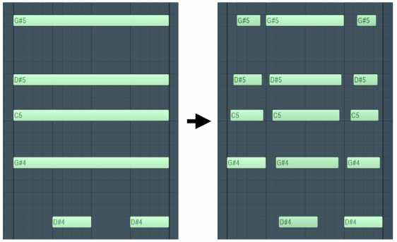 Fl Studio Piano roll Articulate Chop chords.png