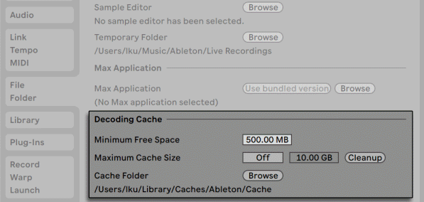 Ableton Live Preferences for the Decoding Cache.png